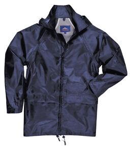 PORTWEST RAIN WATERPROOF OVER COAT JACKET MAC NAVY BLUE S 4XL FESTIVAL CYCLIST