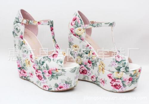 Cute Womens Wedge High Heels Bohemia Platform Shoes Summer Floral Sandals Chz