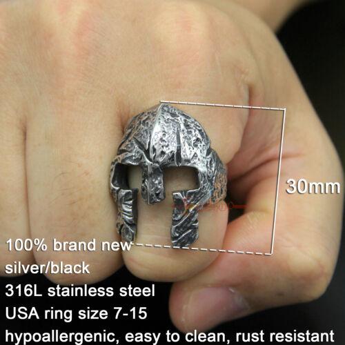 Men/'s Stainless Steel Greek Spartan Masque Casque de Chevalier bague vintage argent//noir