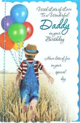 Daddy Birthday Card - Little Boy, Bright Balloons & Big Wheat Field 10.5 x 7