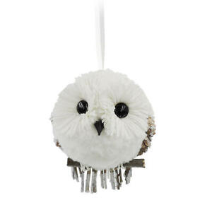 DONNER-amp-BLITZEN-Natural-Owl-Holiday-Christmas-Woodland-Ornament-NEW