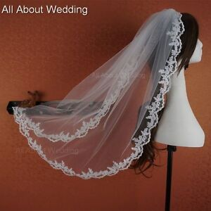 1-T-New-White-Ivory-Fingertip-Bridal-Wedding-Veil-With-Comb-Lace-Applique-Edge
