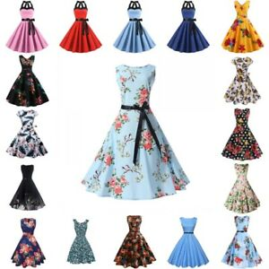 Womens-Floral-Vintage-50s-60s-Retro-Rockabilly-Pinup-Housewife-Party-Swing-Dress