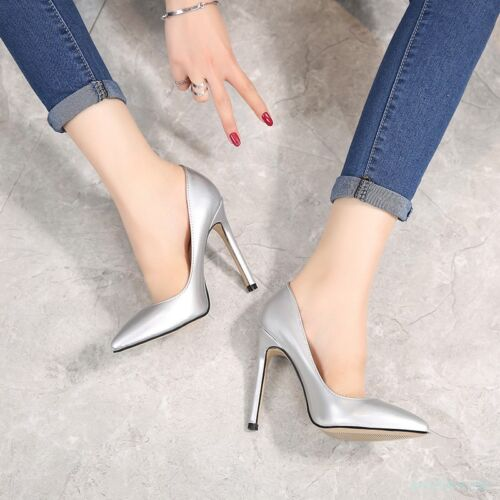 Womens Pointed Toe Slip On High Heels Stiletto Shoes CD Show Shoes Party 35-46
