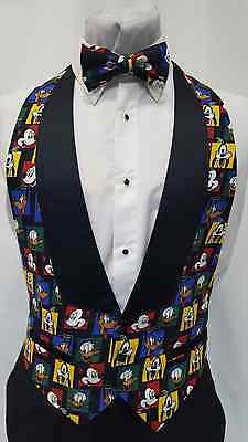 Men/'s Small Looney Tunes Lowcut Tuxedo Tux Vest /& BowTie Mickey Goofy Daffy Duck