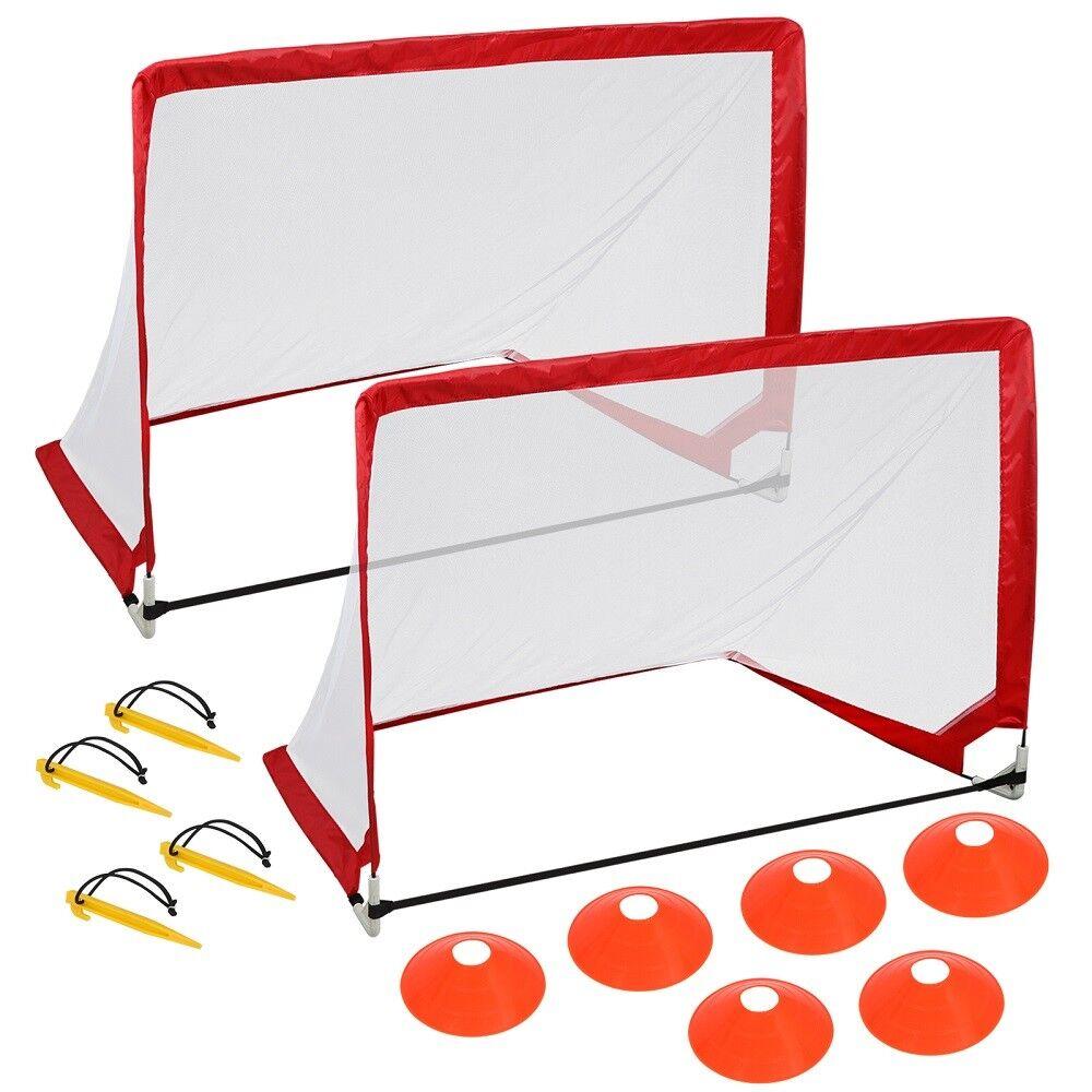 Durable Lightweight Frame Soccer Goal Portable Pop up Net Rectangle W Cones&Bag
