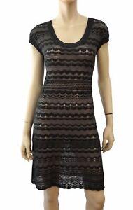 M-MISSONI-Charcoal-Gray-Wave-Crochet-Cap-Sleeve-Mini-Dress-44-US-8