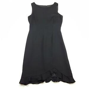 Talbots-Womens-Size-8-Midi-Sleeveless-Shift-Dress-Solid-Black-Asymmetric-Hem