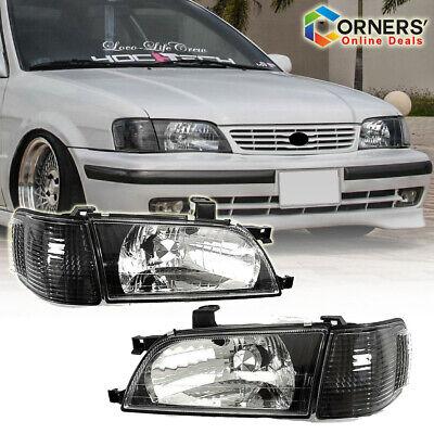 Fits For Toyota Tercel 1998-99 Headlight Black Housing Pair Set