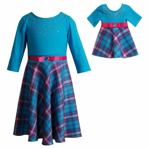 Dollie /& Me Girl 4-14 and Doll Matching Blue Plaid Dress Clothes American Girl
