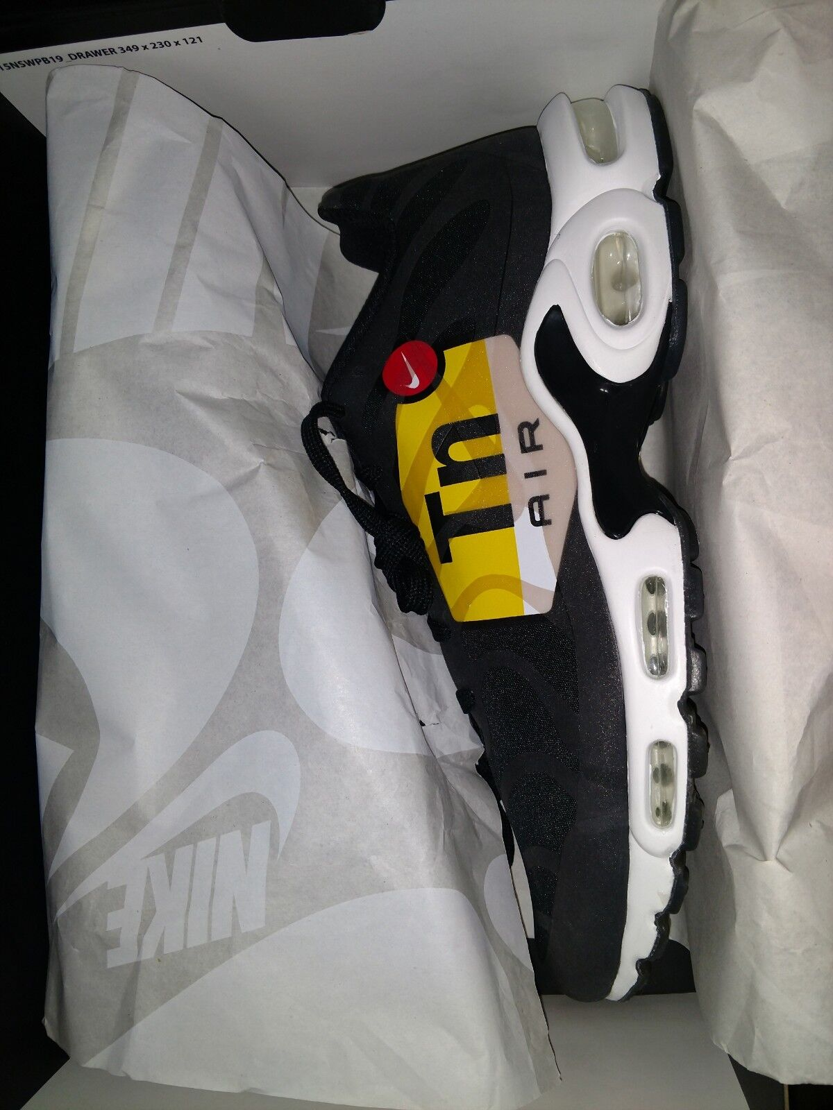 Nike Air Max Plus NS GPX GPX GPX Big Logo Black White Yellow Mens Size 12 AJ0877-001 710a97