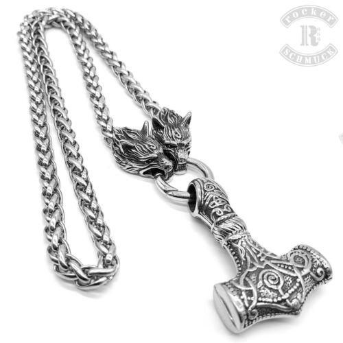 Thor Hammer Thors Hammer Anhänger Set Wikinger Mjölnir Kette Wolf Zopfkette