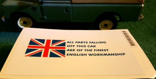 TVR Tuscan Chimaera British Parts Workmanship Comedy Humour Sticker Decal