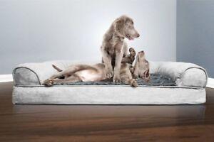 Furhaven 45536087 Jumbo Plush Suede Orthopedic Sofa Pet Dog Cat