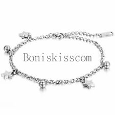 Pentagram Star Charm Bead Stainless Steel Bridal Wedding Anklet Foot Jewelry