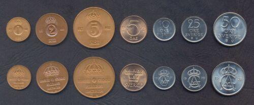 SWEDEN COIN SET 1+2+5+5+10+25+50 Öre 1971-1973 UNC UNCIRCULATED LOT of 7 COINS
