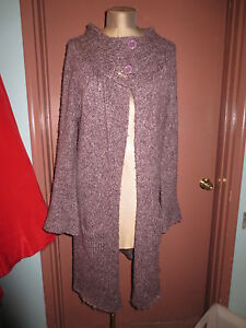 Sz M a bottone Coat Purple Long Bcbg Doppio Sweater colletto Heather ZUzSwqa