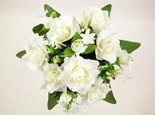 Wedding Bouquet Artificial Silk Flowers Cream Rose Stephanotis Berry Bridal Posy