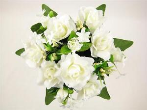 Wedding Artificial Silk Flowers Cream Rose Stephanotis Ivy Buttonhole Corsage