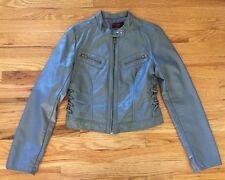 Neu Look Gray feux leather jacket, size M - Cute coat biker rocker punk Women's