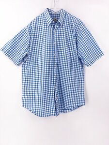 Peter-Millar-Mens-Short-Sleeve-Button-Down-Shirt-Size-Large-Plaid-Checked-Cotton