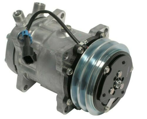 """New A//C Compressor SD7H15 Sanden Style 12V 2 Groove Pulley 3//4/"""" 7//8/"""" A//C Ports"""