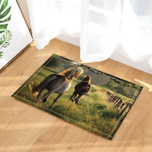Two Horses Walking on the Farm Animals Non-slip Soft Bathroom Bedroom Mats Rugs