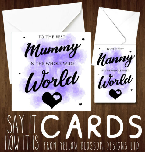 Best Nanny Mummy In The World Card Love Cute Mother/'s Day Birthday Christmas Fun