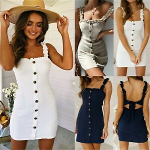 4522053fb6 Details about UK Womens Strappy Button Bodycon Sundress Ladies Summer  Holiday Beach Mini Dress