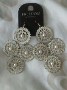 "VINTAGE 00'S Topshop ""Freedom"" Cream/Pearl Filigree Statement Drop Earrings BNWT"