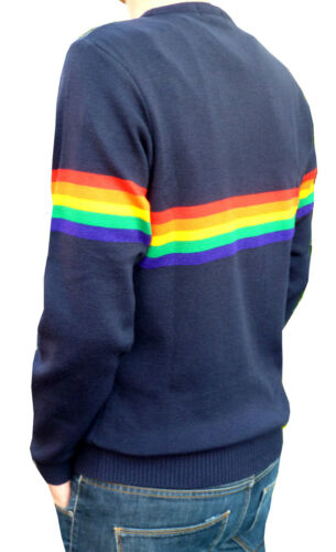 Mens Navy Blue Arcobaleno Maglione Vintage Retrò Anni 80 /'70 Indie Hippy Mod Elo