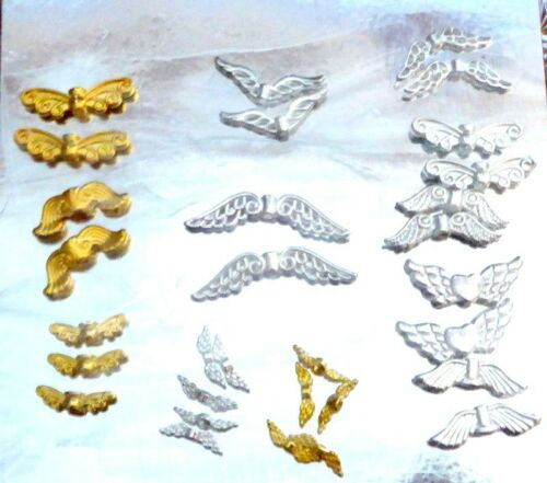 30 Guardian Angel Fairy Wing Charm Spacer Bead Different Designs Bright Plated