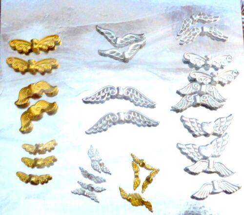 30 Espaciador encanto de hadas Ala de ángel guardián del grano diferentes diseños Brillante Plateado