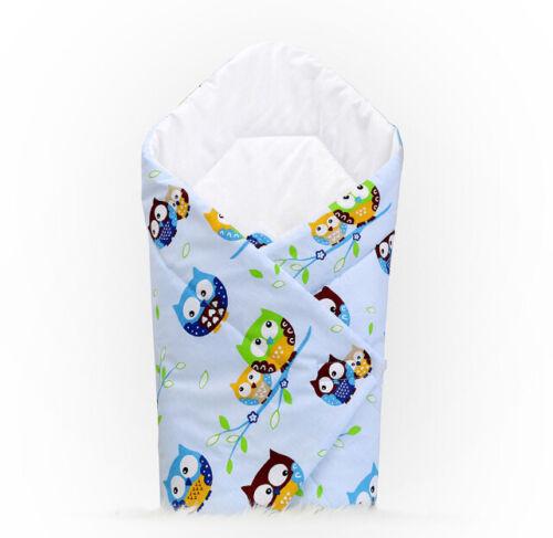 BABY SWADDLE WRAP NEWBORN BLANKET COTTON SLEEPING BAG BABYMAM OWLS BLUE