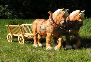 Leiterwagen Heuwagen Kaltblüter Pferde Pferdegespann Pferdewagen Figur Garten