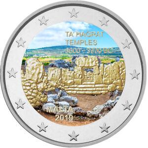 2-Euro-Gedenkmuenze-Malta-2019-Ta-Hagrat-coloriert-mit-Farbe-Farbmuenze-2