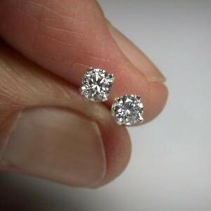 Certified-2-Ct-Forever-Round-Cut-Moissanite-Stud-Earrings-Solid-14K-White-Gold