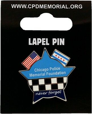 CPD Memorial Star American & Chicago Flag Lapel Pin