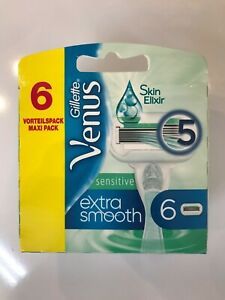 6-Gillette-Venus-SENSITIVE-EXTRA-SMOOTH-Rasierklingen-Ersatzklinge-Skin-Elixir