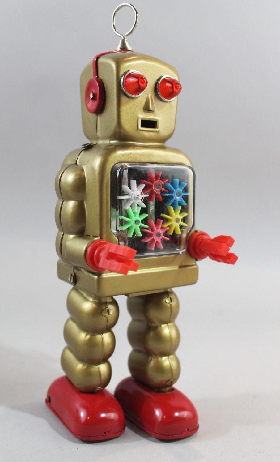 Giocattolo di Latta Robot High Wheel Oro Gear Space Lamiera Spazio Ascensore