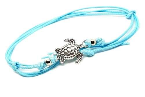 2 x Turtle Ankle Bracelet Beaded Boho Anklet Foot Beach Jewellery Aqua Tone Cord