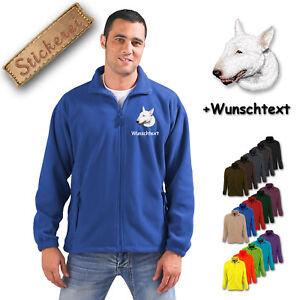 Wunschtext Kleidung & Accessoires Selbstlos Fleece Jacke Bestickt Stickerei Hund Bull Terrier M1 Herrenmode
