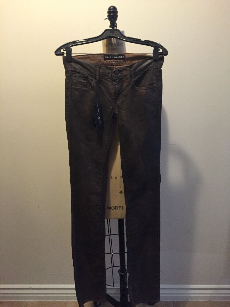 Ralph Lauren Denim Brown Stretch Cotton Skinny Jeans Sz 8 NWT
