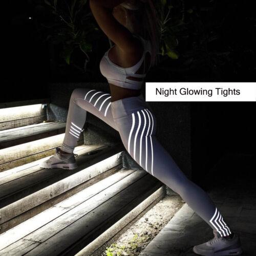Women Rainbow Reflective Leggings Fitness Yoga Pants Sportswear Running Workout