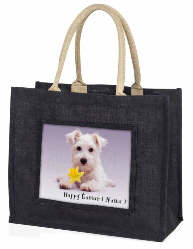 Personalised Name Westie Large Black Shopping Bag Christmas Present, ADW7DA2BLB