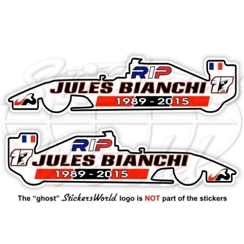 JULES BIANCHI RIP Formel 1 Automobilrennfahrer 100mm Vinyl Sticker Aufkleber x2