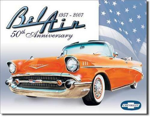 1957 Chevy Bel Air Retro Tin Sign Vintage Style Chevrolet Car Wall