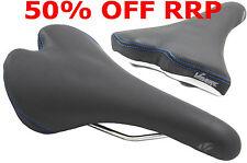 VAVERT COMFORT GEL SPORTS BIKE SEAT IDEAL MTB FIXIE SADDLE BLACK+ BLUE STITCHING