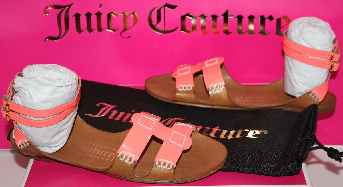 NIB Womens Juicy Couture Zizia orange Patent   Caramel Sandals shoes Size 7.5