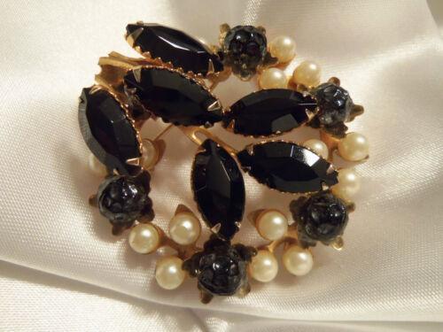 INCREDIBLE Vintage Gold Setting Pearl/BLACK Rhine… - image 1